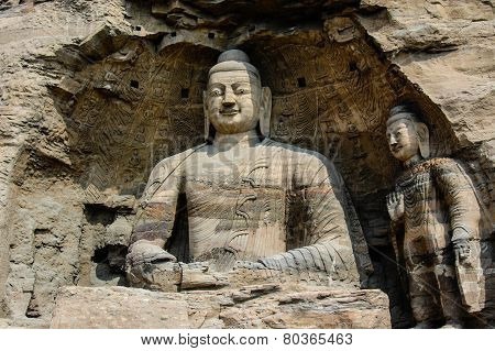 one single bodhisattva sitting in a cave