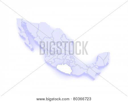 Map of Guerrero. Mexico. 3d