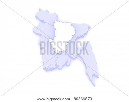 Map of Dhaka. Bangladesh. 3d