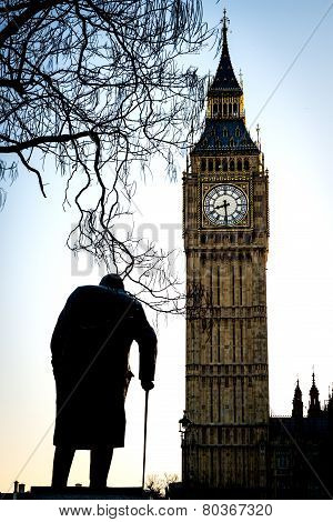 Big Ben And Sir Winston Churchill At Westminster In London