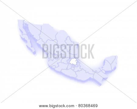 Map of Hidalgo. Mexico. 3d