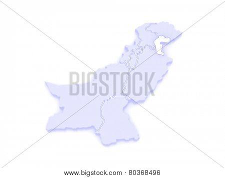 Map of Azad Kashmir. Pakistan. 3d
