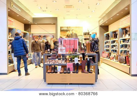 Moscow, Russia, December, 28, 2014:The shoe store Rockport in the shopping center Mega on December, 28, 2014