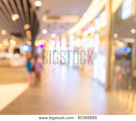Blurred Image Of Shopping Mall And Restaurant.