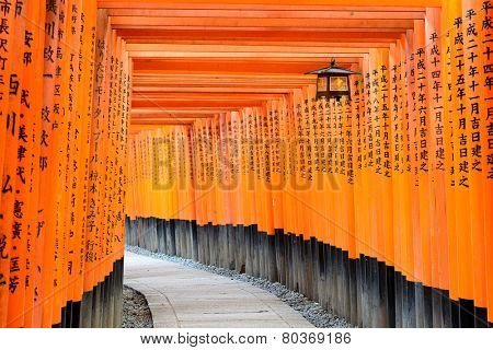 KYOTO, JAPAN - CIRCA APRIL 2014: Fushimi Inari Taisha Shrine torii gates in Kyoto, Japan.