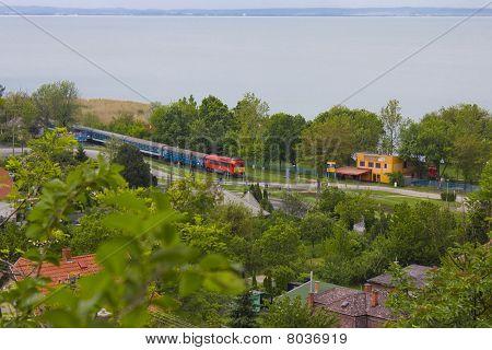 Train at lake Balaton