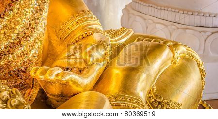 Closeup Of The Hand Of Buddha's Image .