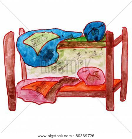 watercolor drawing children bed, bunk cartoon on a white backgro