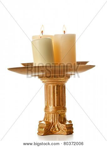 Retro candlestick with candles, isolated on white