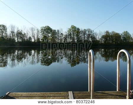 Peaceful lake in the morning calm, near Stratford, Ontario, Canada