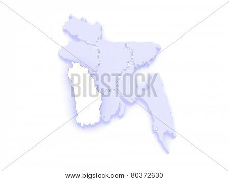 Map of Khulna. Bangladesh. 3d