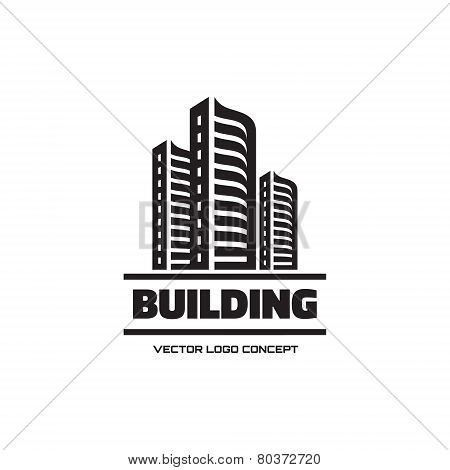 Building - vector logo concept illustration. Real estate logo. Cityscape graphic illustration. Vecto