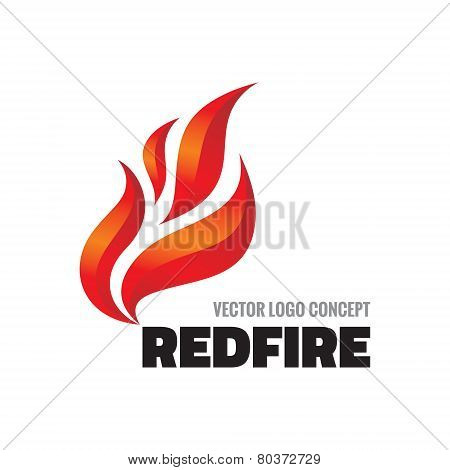 Red fire - vector logo concept illustration. Flame fire sign.