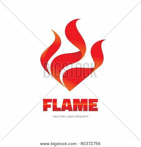 Flame - vector logo concept illustration. Red fire sign.