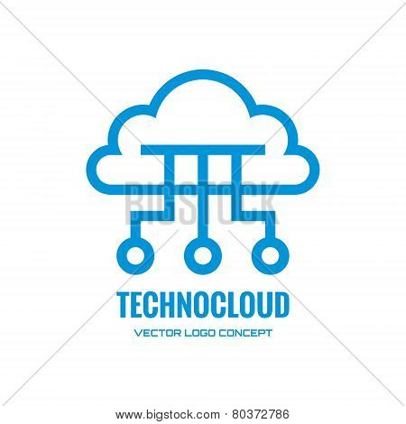 Technocloud - vector logo concept illustration. Cloud logo. Vector logo template. Design element.
