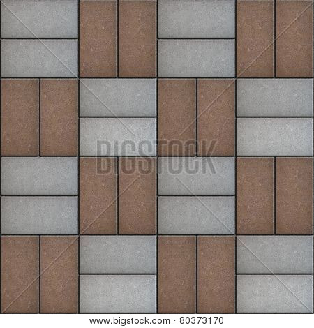 Gray and Brown Rectangle Pavement. Seamless Texture.
