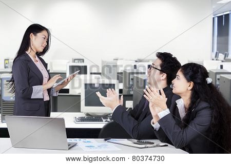 Woman Get Applause After Presentation
