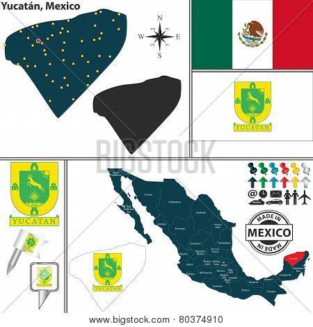 Map Of Yucatan, Mexico