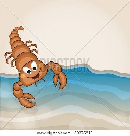 Cartoon of a funny scorpion with water wave on stylish background.