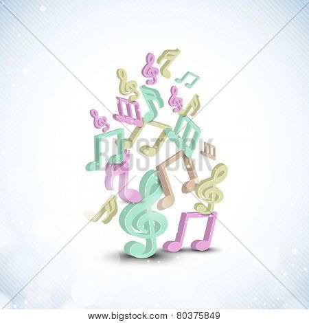 Shiny stylish musical notes in different color on seamless background.