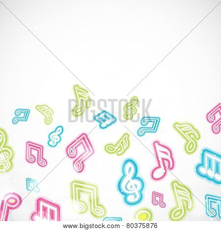 Shiny musical notes on light grey background.