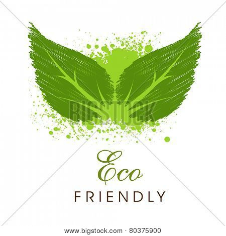 Creative green leaves with splash and text Eco Friendly for Save Nature purpose on white background.