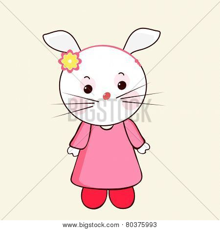 Cute and stylish character of rabbit wearing human clothes with a hair band on its head.