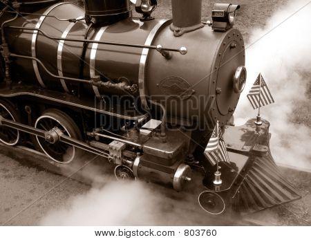 Train Engine Sepiatone