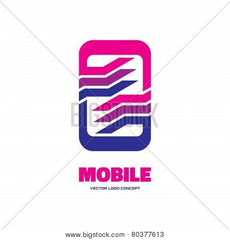 Mobile soft - vector logo concept illustration. Mobile phone, smart phone or tablet logo concept. Ab