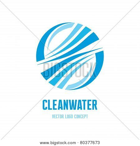 Clean water logo concept illustration. Abstract vector logo in blue colors. Vector logo template. De
