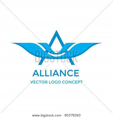 Letter A with wings - vector logo concept illustration. Letter A logotype. Vector logo template. Des
