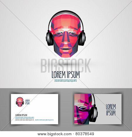 music vector logo design template. headphones or disc-jockey icon.
