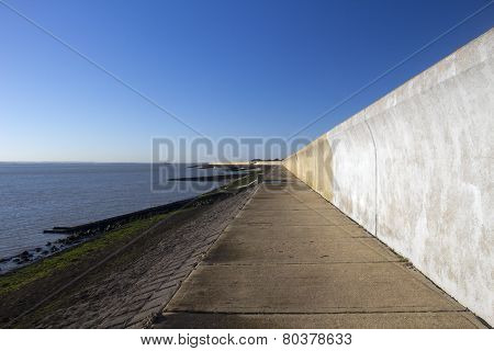 Sea Wall On Canvey Island, Essex, England