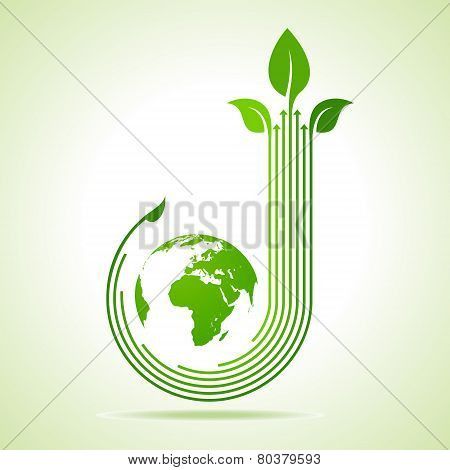 Ecology Concept - business logo with earth stock vector