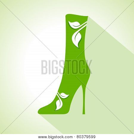 Ecology Concept - shoes with leaf stock vector