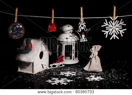 Decorative Small House For Birdies, A Small Lamp And An Ornament For A Fur-tree