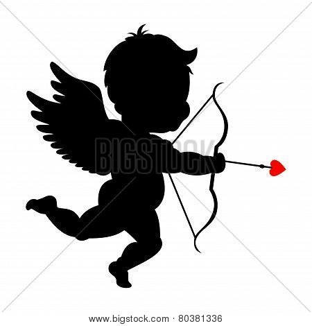 Silhouette of cupid shooting his bowpid