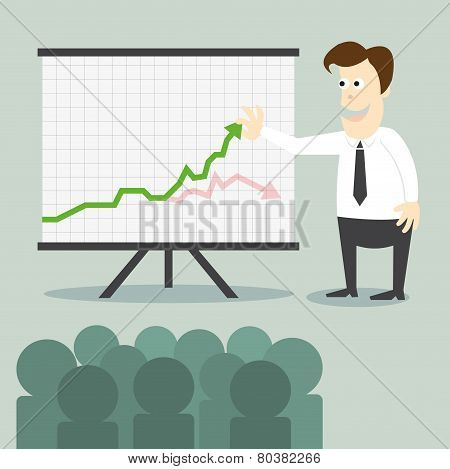 Business Man With Chart Presentation To People