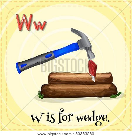 Illustration of a letter w is for wedge