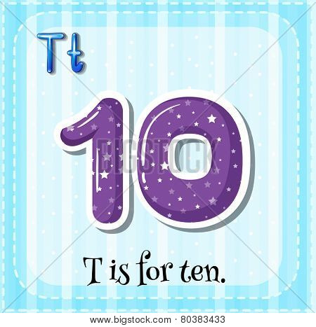 Illustration of a letter t is for ten
