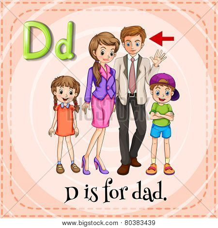 Illustration of a letter d is for dad