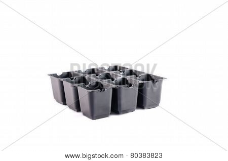 Empty plastic seedling tray