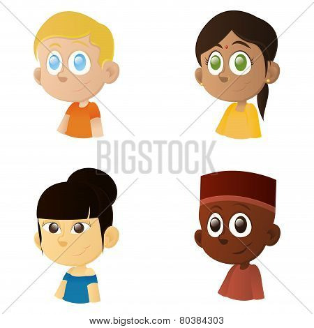 a set of happy interracial boys and girls on a white background