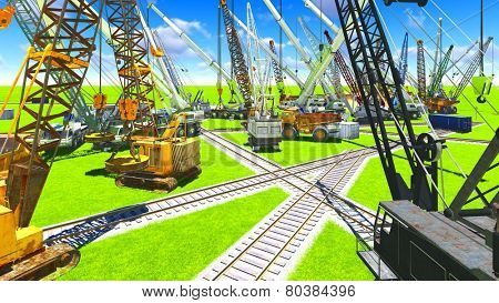 Construction site with various machines
