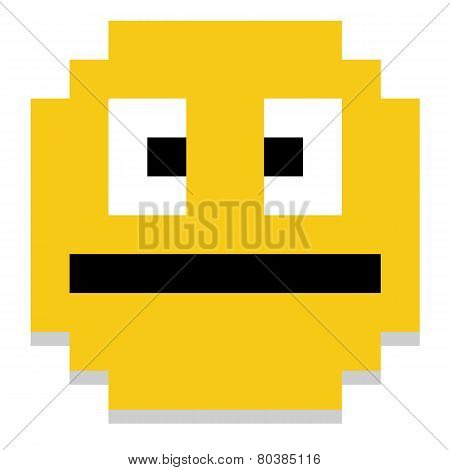 Vector Cute Cartoon Pixel Yellow Face Isolated