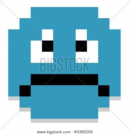 Vector Cute Cartoon Pixel Sad Face Isolated