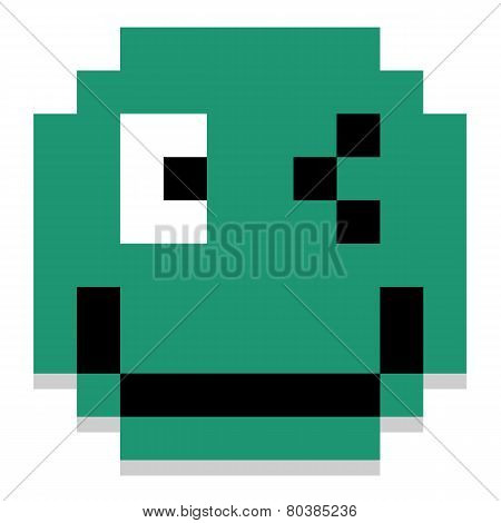 Vector Cute Cartoon Pixel Winking Face Isolated