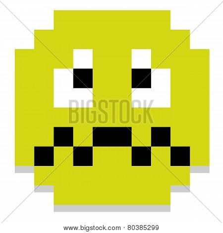 Vector Cute Pixel Cartoon Green Sick Face