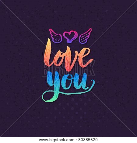 Attractive Love you Texts on Violet Background