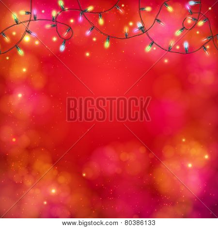 Vibrant party background with a garland of lights